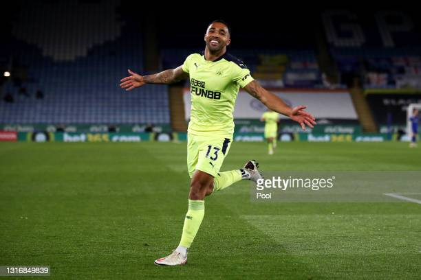 Callum Wilson of Newcastle United celebrates after scoring his team's third goal during the Premier League match between Leicester City and Newcastle...