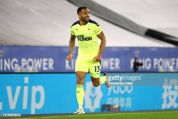Callum Wilson of Newcastle United celebrates after scoring his team's fourth goal during the Premier League match between Leicester City and...