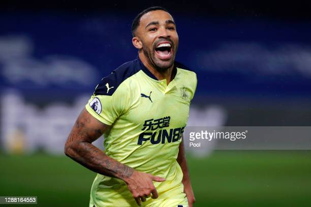 Callum Wilson of Newcastle United celebrates after scoring their team's first goal during the Premier League match between Crystal Palace and...