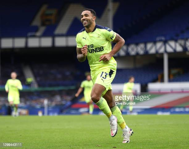 Callum Wilson of Newcastle United celebrates after scoring their side's second goal during the Premier League match between Everton and Newcastle...