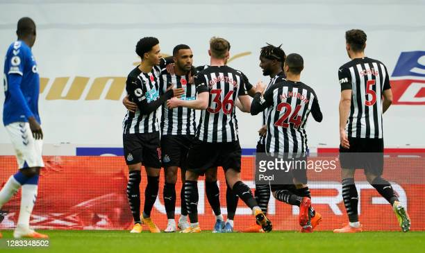 Callum Wilson of Newcastle United celebrates with teammates after scoring his sides first goal during the Premier League match between Newcastle...