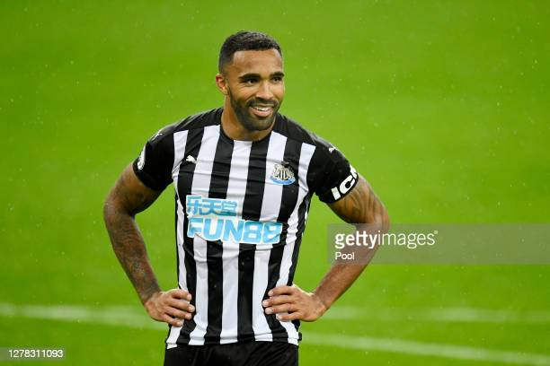 Callum Wilson of Newcastle United reacts during the Premier League match between Newcastle United and Burnley at St. James Park on October 03, 2020...