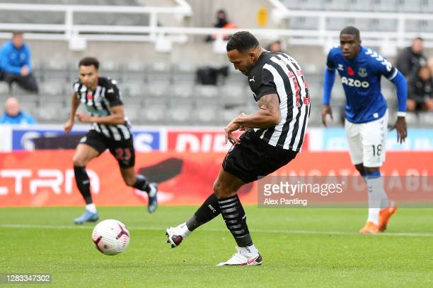 Callum Wilson of Newcastle United scores his sides first goal from the penalty spot during the Premier League match between Newcastle United and...