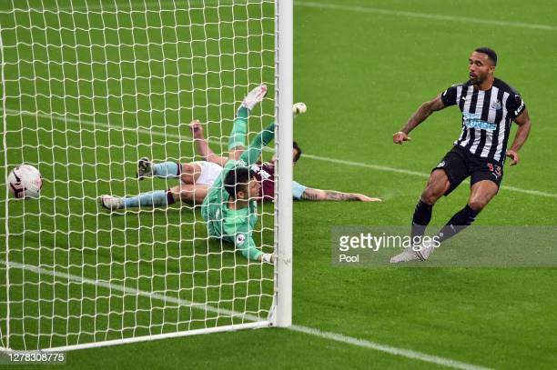 Callum Wilson of Newcastle United scores his team's second goal during the Premier League match between Newcastle United and Burnley at St. James...