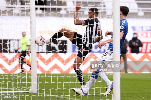 Callum Wilson of Newcastle United scores his team's second goal during the Premier League match between Newcastle United and Everton at St. James...