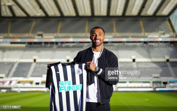 Callum Wilson poses for a photograph holding a home shirt at St.James' Park on September 07, 2020 in Newcastle upon Tyne, England.