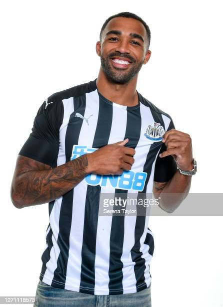 Callum Wilson poses for a photograph wearing a home shirt on September 07, 2020 in Newcastle upon Tyne, England.