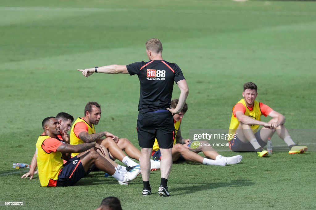 Callum Wilson with Bournemouth manager Eddie Howe during training session at the clubs pre-season training camp at La Manga, Spain on July 12, 2018 in La Manga, Spain.