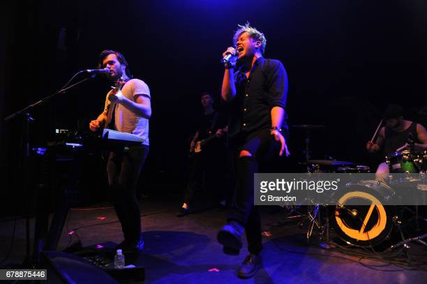 Callum Wiseman and Stewart Brock of Prides perform on stage at the O2 Shepherd's Bush Empire on May 4 2017 in London England