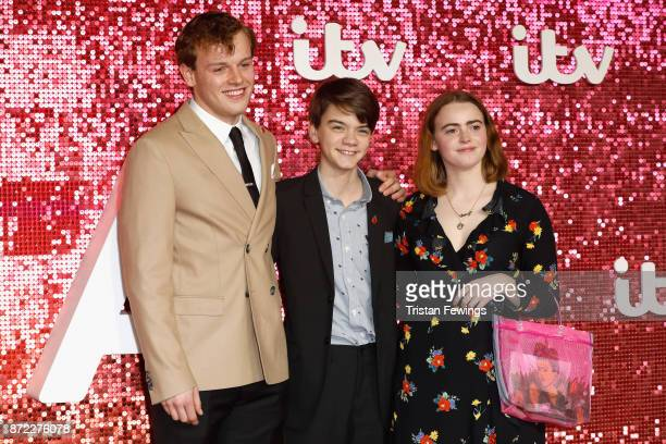 Callum Woodhouse Milo Parker and Daisy Waterstone arriving at the ITV Gala held at the London Palladium on November 9 2017 in London England