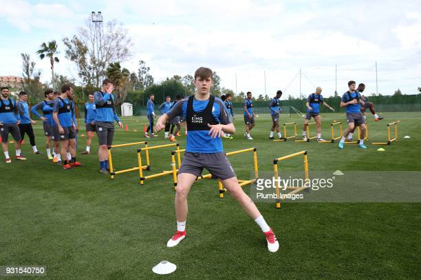 Callum Wright during the Leicester City training session at the Marbella Soccer Camp Complex on March 13 2018 in Marbella Spain