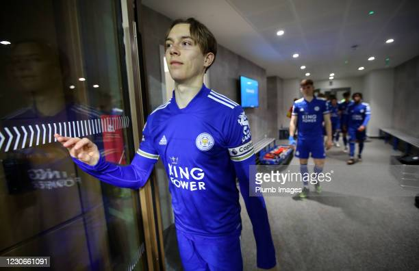 Callum Wright of Leicester City ahead of the Premier League 2 match between Leicester City and Manchester United at Leicester City Training Ground,...