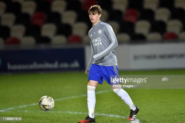 Callum Wright of Leicester City before the Leasingcom quarter final match between Newport County and Leicester City U21 at Rodney Parade on February...