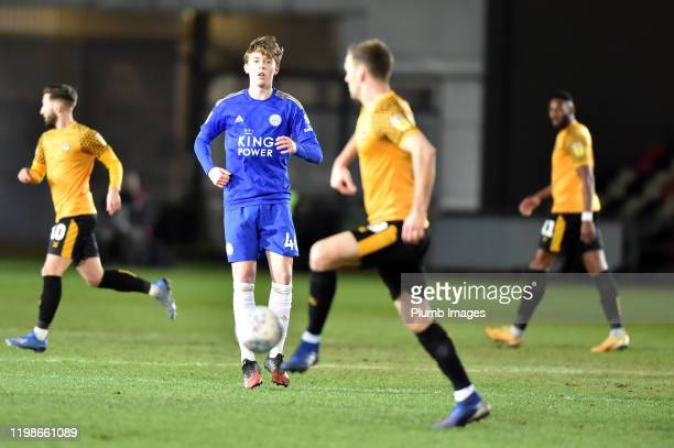 Callum Wright of Leicester City during the Leasingcom quarter final match between Newport County and Leicester City U21 at Rodney Parade on February...