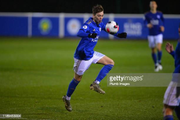 Callum Wright of Leicester City during the Leicester City U23 v Villarreal B PL International Cup at Holmes Park on December 18th 2019 in Leicester...