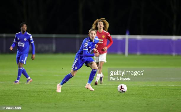 Callum Wright of Leicester City during the Premier League 2 match between Leicester City and Manchester United at Leicester City Training Ground, on...
