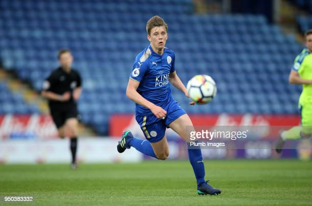 Callum Wright of Leicester City in action during the Premier League 2 match between Leicester City and Derby County at King Power Stadium on April 23...