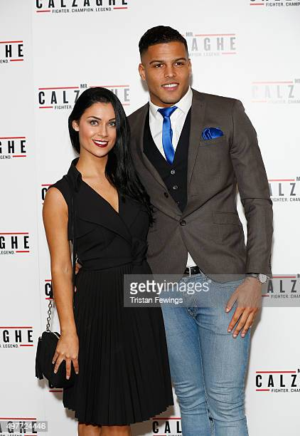 Cally Jane Beech and Luis Morrison attend the UK Gala Screening of 'Mr Calzaghe' at May Fair Hotel on November 18 2015 in London England