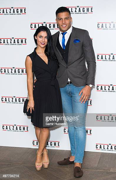 Cally Jane Beech and Luis Morrison attends the UK Gala Screening of 'Mr Calzaghe' at May Fair Hotel on November 18 2015 in London England