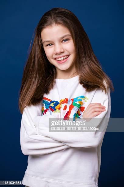 Calm Brunette Little Girl