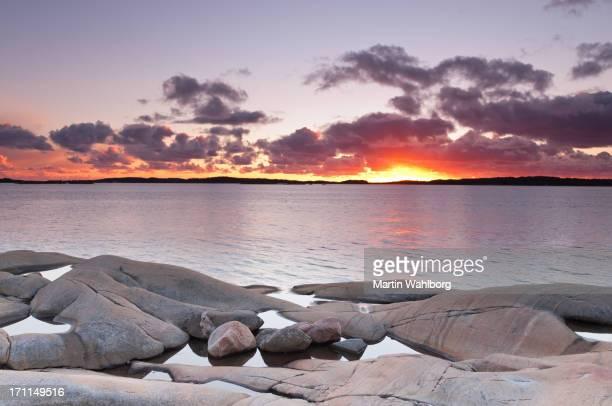 Calm coastline sunset