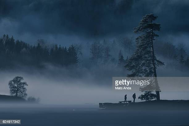 calm lake in frosty fog - mystery stock pictures, royalty-free photos & images
