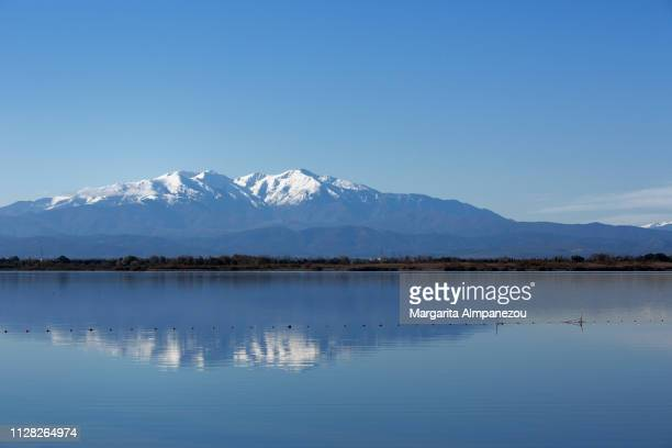 Calm lake scene with the reflection of a snowcapped mountain