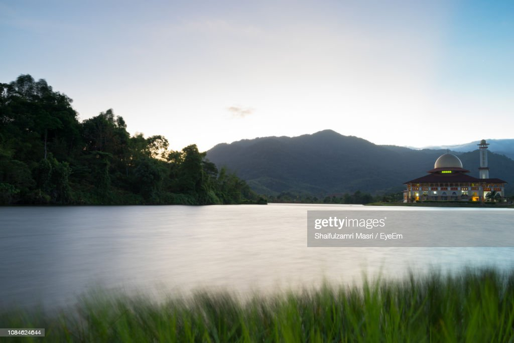 Calm Lake With Mountains In Background : Stock Photo