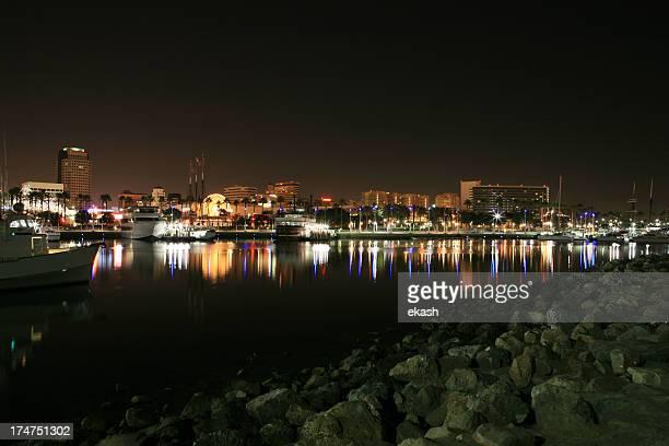 Calm Long Beach Harbor at night