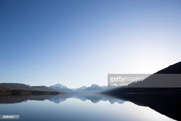 A calm morning before sunrise on Lake McDonald in Glacier National Park.