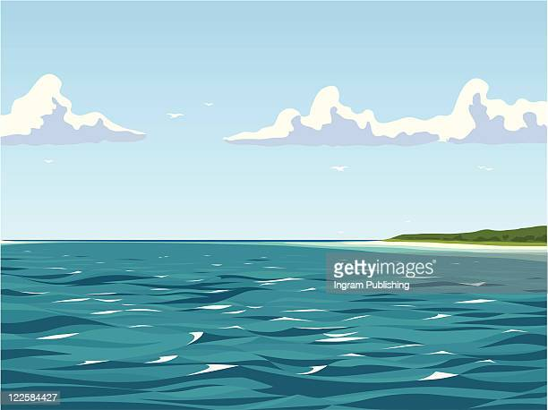 calm view of the seaside. - vector stock pictures, royalty-free photos & images