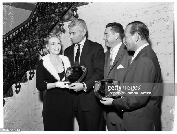 Calmac Entertainment 15 January 1958 Jeff ChandlerWes LloydSy DevoreMarie Wilson Caption slip reads 'Photographer Miller Date Reporter Thackrey...