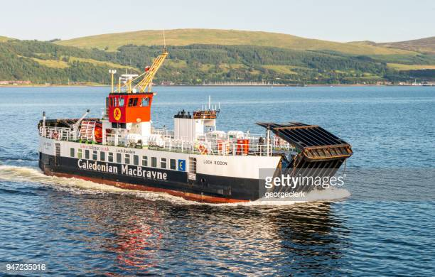calmac ferry approaching cumbrae - passenger craft stock pictures, royalty-free photos & images