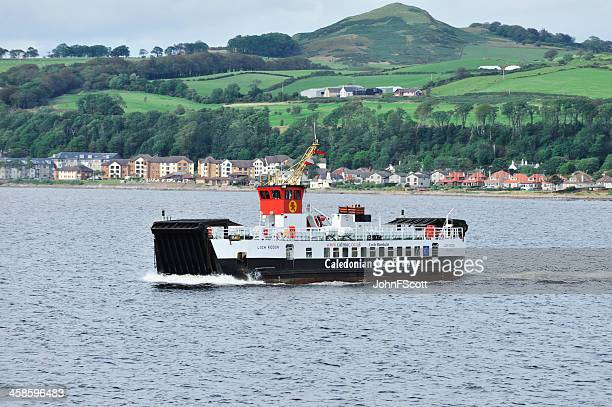 calmac ferry in the firth of clyde, scotland - johnfscott stock pictures, royalty-free photos & images