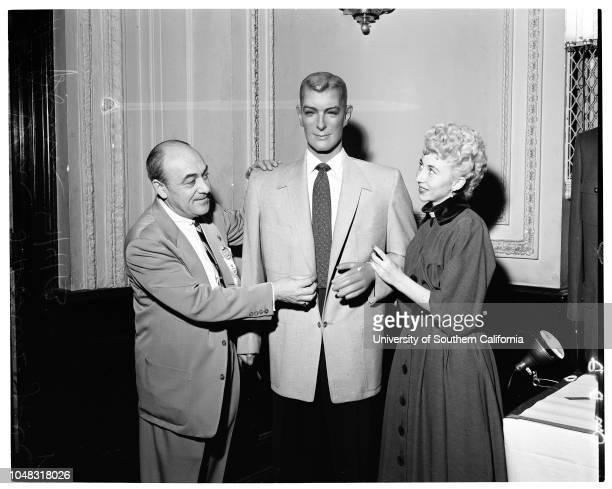 Calmac show Alexander Hotel 4 January 1953 Sig Blau cochairman of showHostess Jody HepburnDummy model with arrowcut lapel sports coat for spring501...