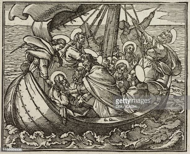 Calming the storm, Gospel of Luke, engraving from Evangelia Arabice et Latine , Tipografia Medicea, Rome, 1591.