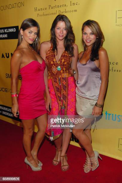 Calo Gibson Sarah Dumont and Anahi Gonzales attend WORLD PREMIERE OF MARKUS KLINKO INDRANI'S 'ICONS' EXHIBITION at The Pacific Design Center on April...
