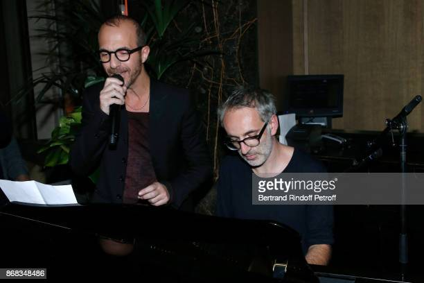 Calogero and Vincent Delerm who wrote a song especially for Claude Lelouch perform during Claude Lelouch celebrates his 80th Birthday at Restaurant...