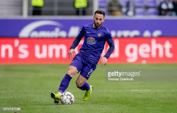 Calogero Rizzuto of Aue in action during the Second Bundesliga match between FC Erzgebirge Aue and SV Darmstadt 98 at Erzgebirgsstadion on December...