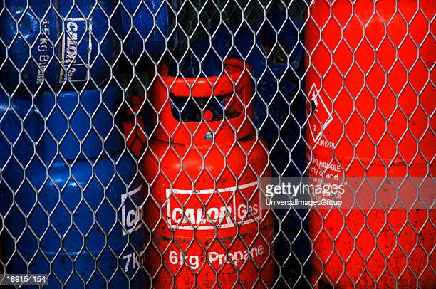 Calor Gas Cylinders Being Kept For Safety Behind Wire Mesh Fencing