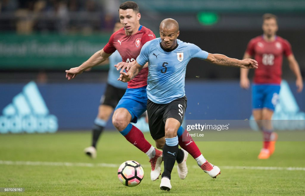 Calos Sanchez #5 of Uruguay in action during 2018 China Cup International Football Championship between Uruguay and Czech Republic Republic at Guangxi Sports Center on March 23, 2018 in Nanning, China.