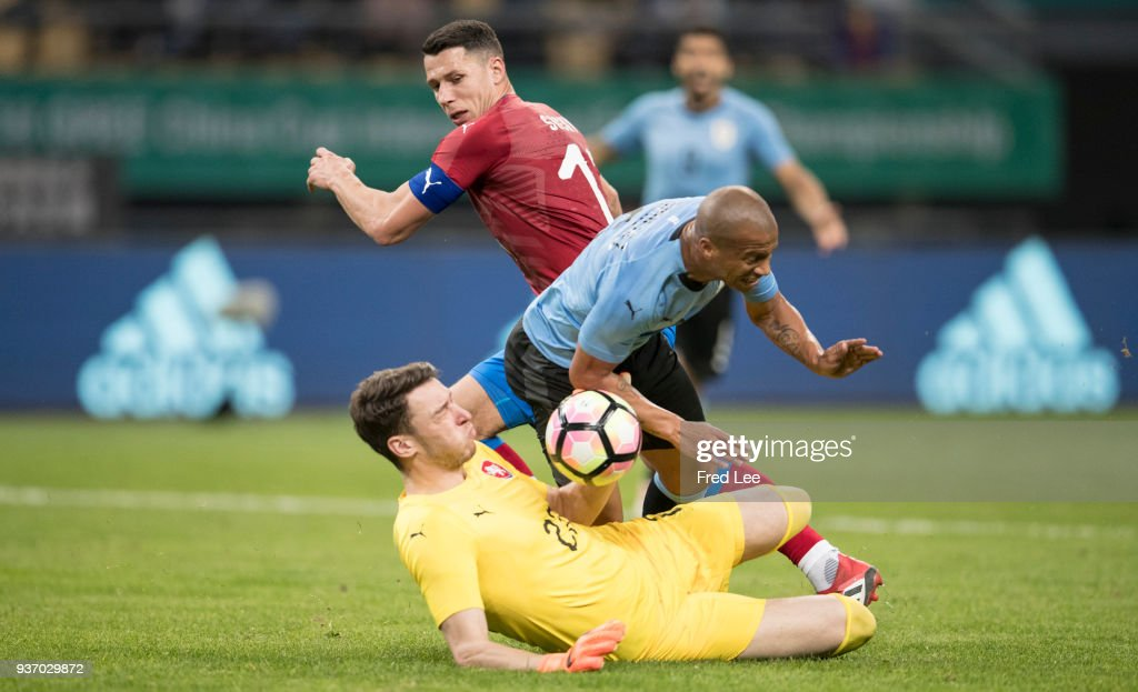 Calos Sanchez #5 of Uruguay in action during 2018 China Cup International Football Championship between Uruguay and Czech Republic at Guangxi Sports Center on March 23, 2018 in Nanning, China.