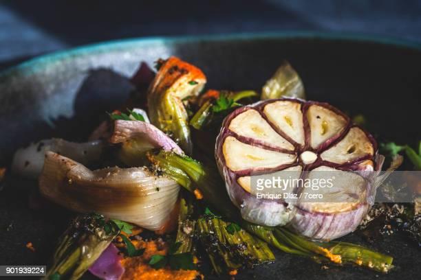 Calçots and Garlic Extreme Close Up