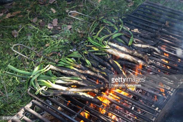 Calçots being grilled over a hot fire in Barcelona