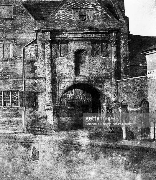 Calotype by photography pioneer William Henry Fox Talbot of a workhouse for poor clothiers established by the will of John Kendrick and founded in...