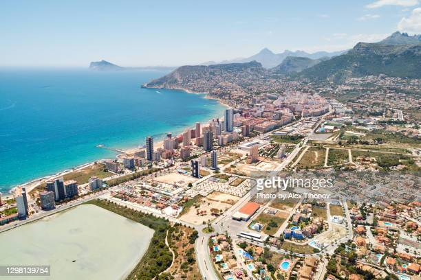calpe townscape, mediterranean seascape and salt lake view from above. spain - カルペ ストックフォトと画像