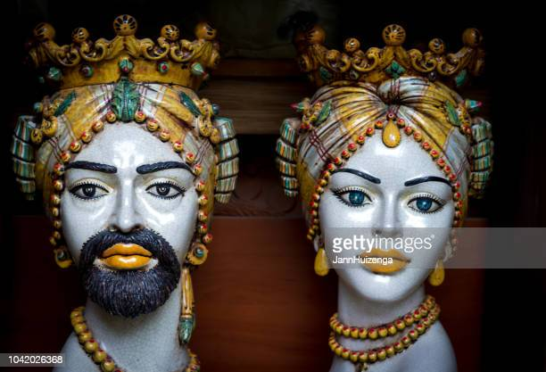 caltagirone, sicily: majolica vases (moorish heads ) - sicily stock pictures, royalty-free photos & images