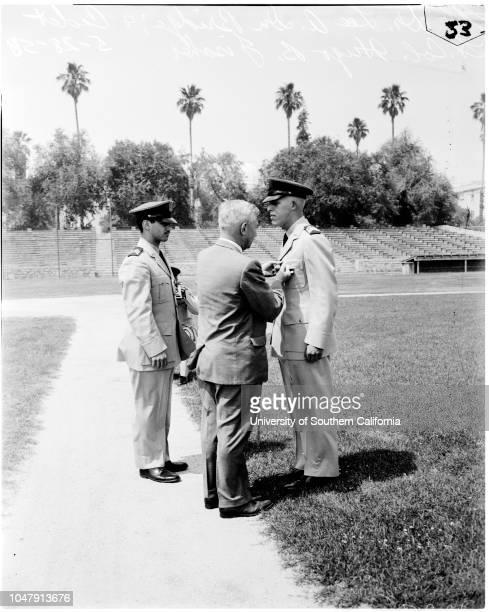 Caltech awards presented 28 May 1958 Doctor Lee A DubridgeCadet Lieutenant Colonel Hugo B Fischer Richard M Frincke Barry E Feinberg presented with...