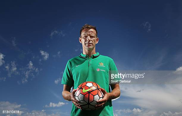 Caltex Socceroos player Alex Wilkinson poses during a Socceroos sponsorship announcement at Melbourne City Training Facility on March 3 2016 in...