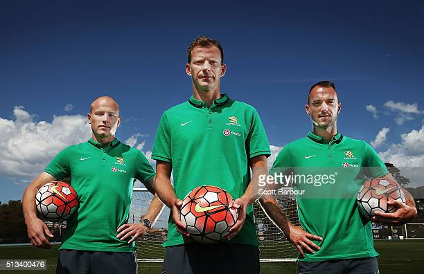 Caltex Socceroos players Aaron Mooy Alex Wilkinson and Ivan Franjic pose during a Socceroos sponsorship announcement at Melbourne City Training...